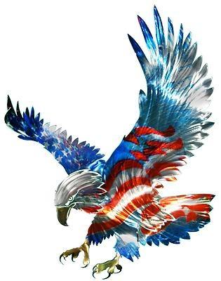 New Large AMERICAN FLAG & BALD EAGLE METAL WALL ART Patriotic Decor Decorations | eBay