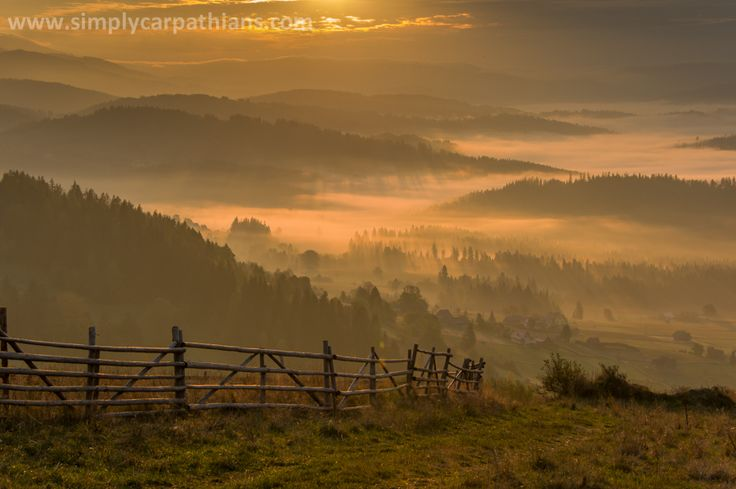 Sunrise in the Beskidy Mountains.