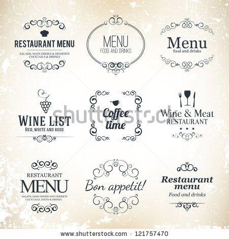 Label set for restaurant menu design by L.M.V, via ShutterStock