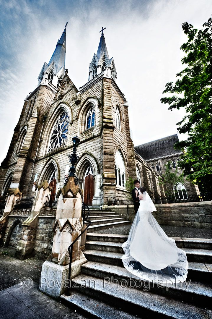 Scenic creative pre-wedding pictures from Holy Rosary cathedral Vancouver