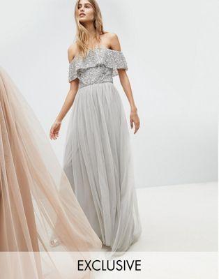 Maya | Maya Bardot Sequin Top Tulle Detail Dress With High Low Hem
