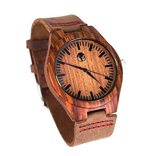 Viable Harvest - Men's Wood Watch - Wooden Bamboo Dial - Sandalwood Bezel - Genuine Leather - Gift box