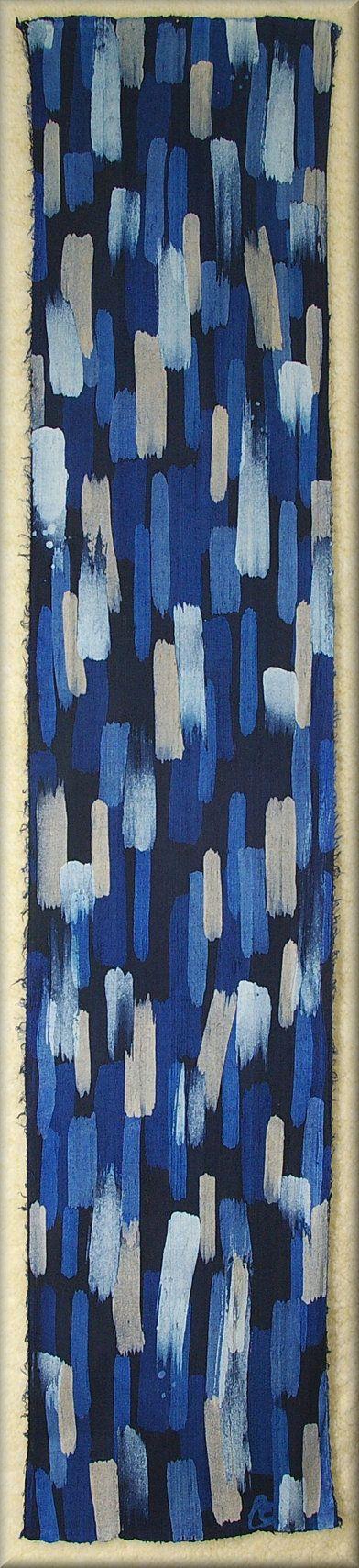 "Brush Strokes Bright Blues and Mushroom Dupioni Mens Silk Scarf (approx. 11x54)  by Laura Elderton ""Silk in Art"""