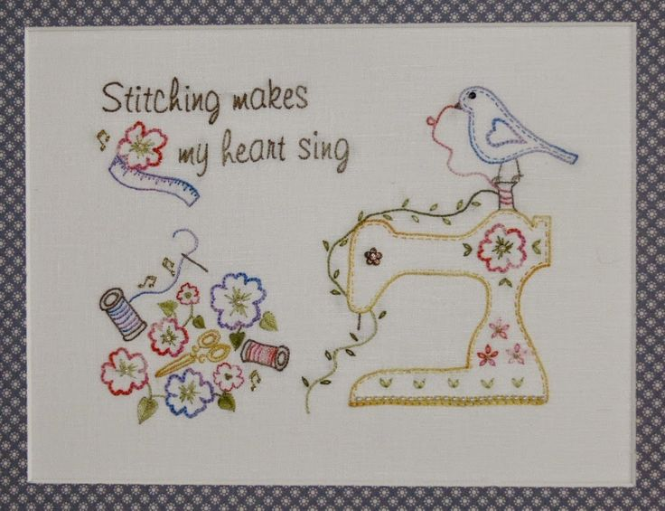 """This beautiful and fresh stitchery """"Singing Heart"""" could be framed or used in a bag, wall-hanging or cushion. It uses lovely variegated thread which enhances the design. Val Laird Designs"""