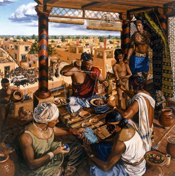 La cultura del valle del Indo · A mil kilómetros  al norte del Indo se fundó el asentamiento de Shortugai, que permitía a Harappa controlar el lapislázuli obtenido en Badakhshan (Afganistán). En la ilustración, mercaderes del norte aguardan para mostrar turquesas y lapislázuli a un comerciante de Harappa que pesa cuentas para hacer collares y brazaletes, una de las principales exportaciones a Mesopotamia. El comercio descansaba en el trueque, ya que la civilización del Indo carecía de…