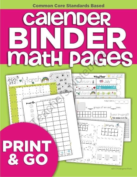 Kindergarten Calendar Sheets : Calendar binder math pages keeping every student engaged