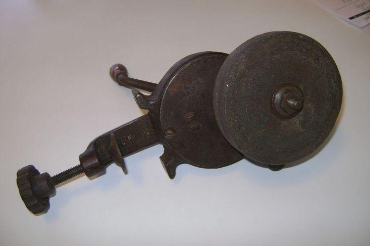 Antique Hand Crank Metal Grinder Knife Sharpener Old