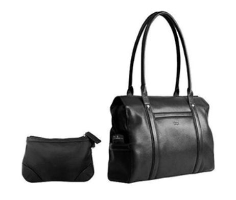 This Ladies Computer Bag is made from genuine leather and features carry handles to carry like a handbag. It has a padded computer compartment that fits most 17 inch screen laptops and fully lined main and side pockets. It includes a detachable cosmetic purse for the perfect business lady.