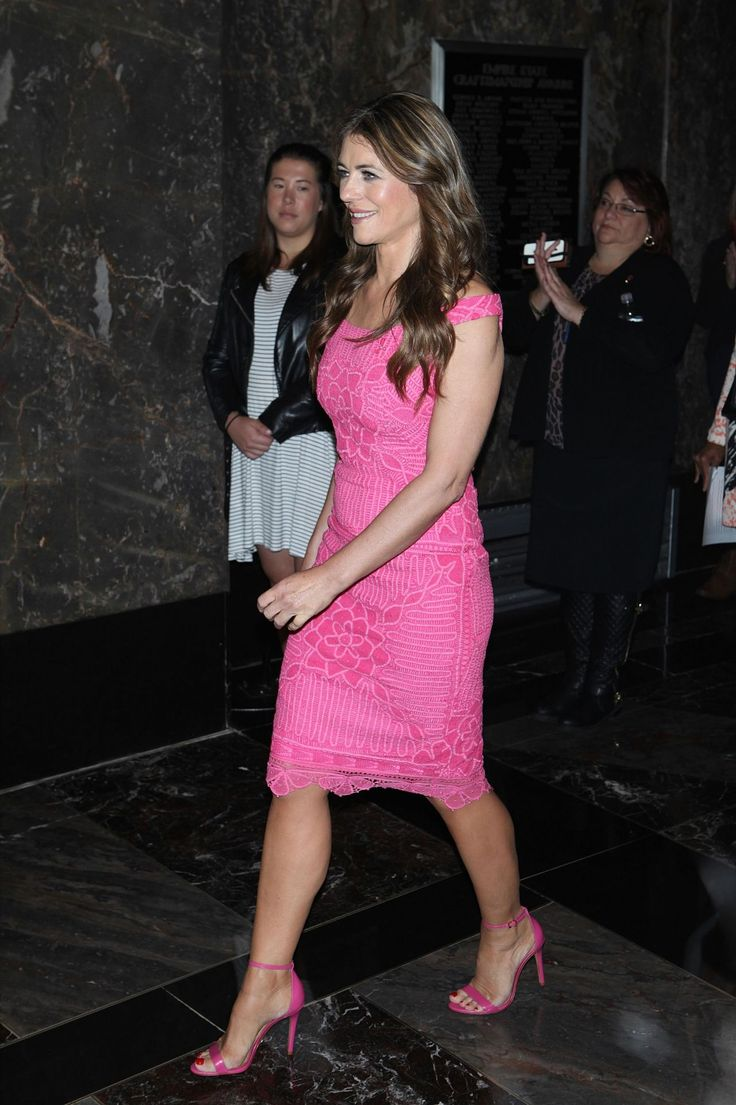 Liz hurley versace dress - Elizabeth Hurley Lights The Empire State Building For Breast Cancer Awareness Campaign In Ny Sep