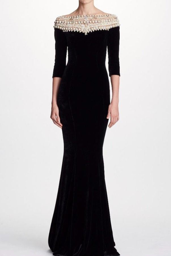 Quarter Sleeve Pearl Evening Gown