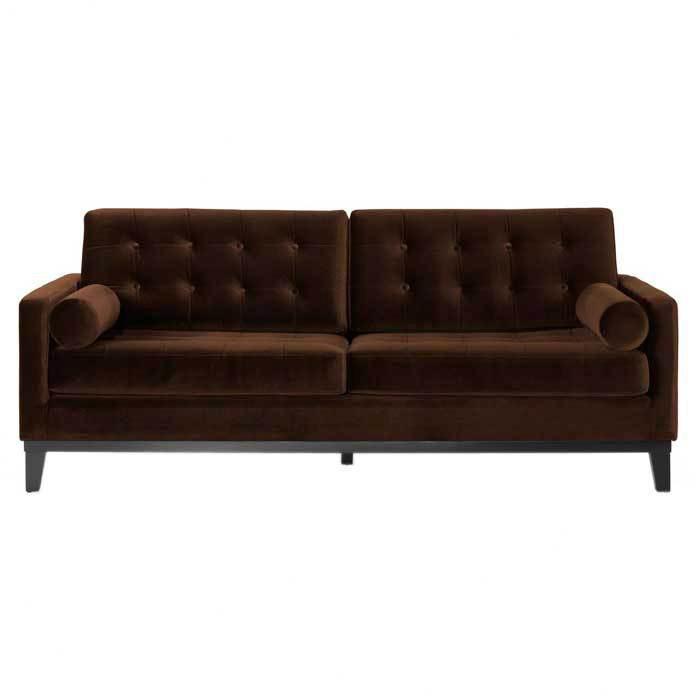 Dark Brown Velvet Sofa.