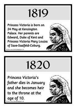 A set of 20 A5 printable fact cards that reveal a timeline of the life of Queen Victoria. Color coordinated in black and white, this set is very informative and explains all the major events that took place in Queen Victoria's life! Visit our TpT store for more information and for other classroom display resources by clicking on the provided links.