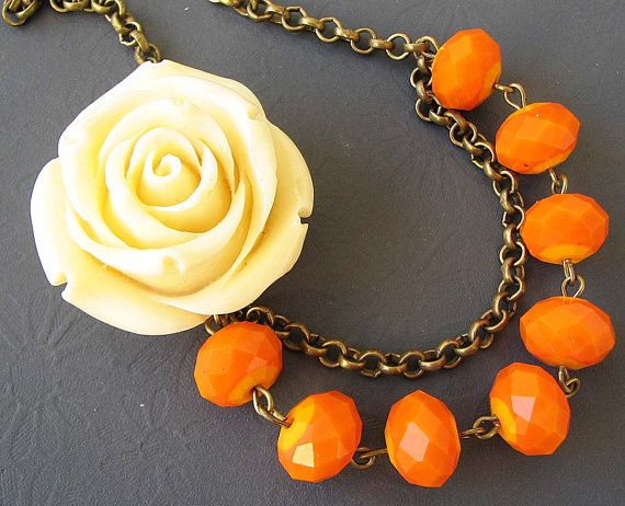 Bloem ketting oranje sieraden verklaring ketting bruidsmeisje sieraden ivoor Rose ketting kralen