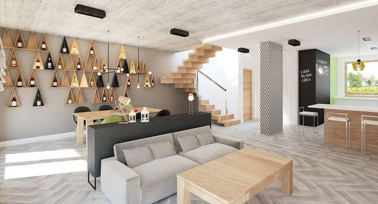 dom z betonowym sufitem