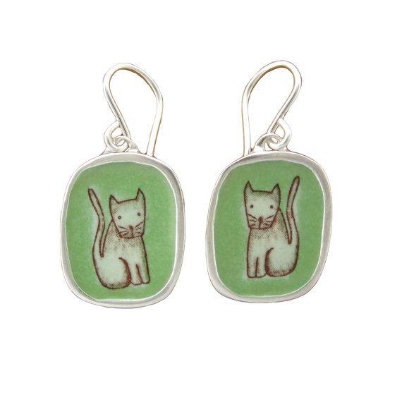 Cat Earrings  Sterling Silver and Vitreous Enamel  Cat