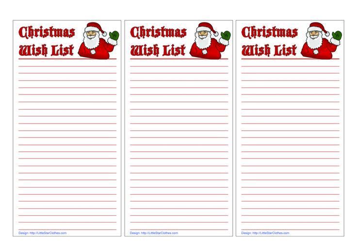 Wish List template   Christmas   Pinterest