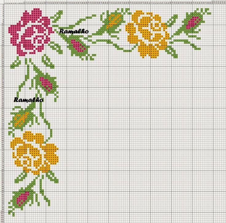 12 ανοιξιάτικα σχέδια για κεντημένα τριαντάφυλλα / 12 rose cross stitch patterns - ideal Spring patterns Επισκεφτείτε την ετικέτα ...