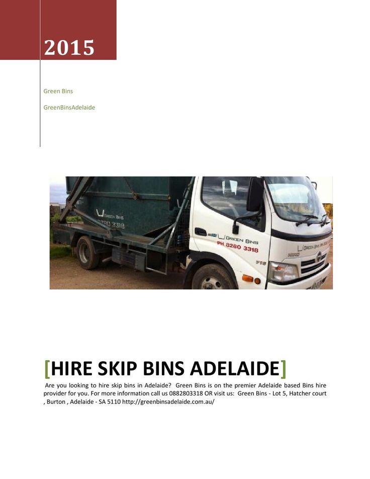 Hire skips bins in Adelaide? Green Bins is on the premier skips bins provider in Adelaide for you. For more information call us 0882803318 OR visit us: Green Bins - Lot 5, Hatcher court, Burton , Adelaide - SA 5110 http://greenbinsadelaide.com.au/