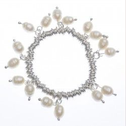 River Pearl Charm Bracelet #silver #jewellery #modern #bride