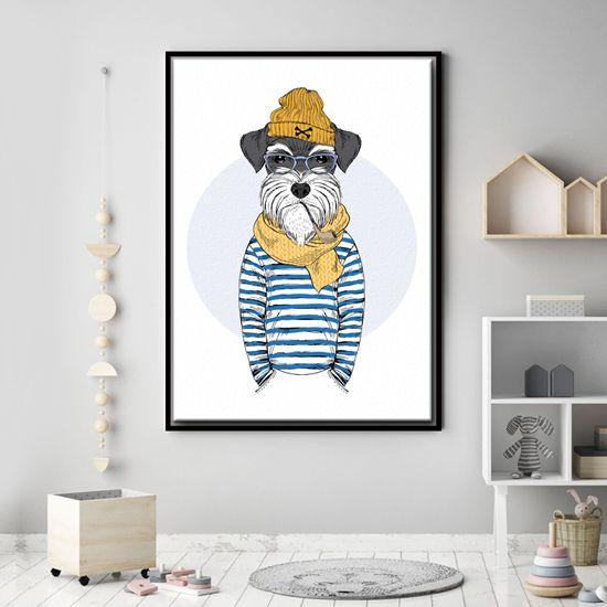Πίνακας με πορτραίτο Hipster Σνάουτσερ σκύλου. Το ναυτικό θέμα είναι θαυμάσιο για τα αγορίστικα υπνοδωμάτια! #paidikoipinakes #kidscanvas #cooldog #hipstersnawtserdog #καμβάςμεναυτικόθέμα