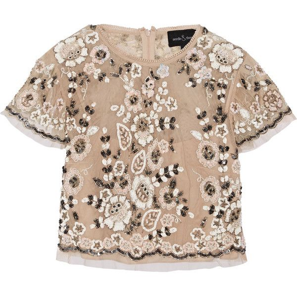 Needle & Thread Petal embellished tulle top found on Polyvore featuring tops, shirts, t-shirts, beige, sequin cami top, layered tops, floral tops, beige shirt and beaded top