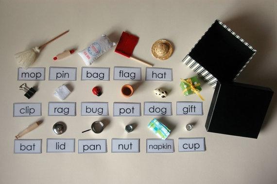Montessori Phonetic Object Box Miniature Tangible