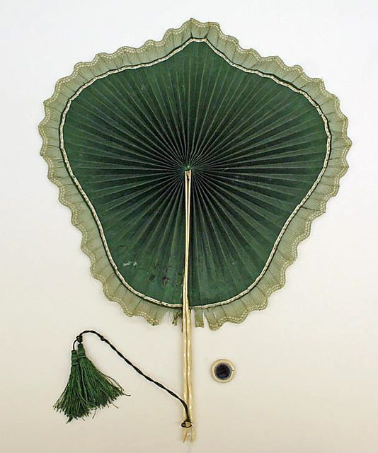 Green silk fan with bone handle, European, ca. 1850.