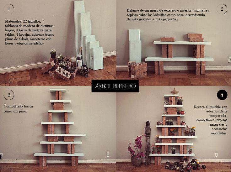 Proyectos de Decoración: ARBOL REPISERO fue para una campaña navideña de Falabella Chile. Visítame en www.javieramora.com o escríbeme a javieramora@gmail.com #diseno #arte #decoracion #arbol #mueble #ladrillos #navidad