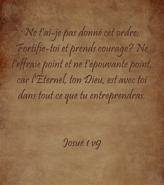 Josué 1:8 Que ce livre de la loi ne s'éloigne point de ta bouche; médite-le jour et nuit, pour agir fidèlement selon tout ce qui y est écrit; car c'est alors que tu auras du succès dans tes entreprises, c'est alors que tu réussiras. 9 Ne t'ai-je pas donné cet ordre: Fortifie-toi et prends courage? Ne t'effraie point et ne t'épouvante point, car l'Eternel, ton Dieu, est avec toi dans tout ce que tu entreprendras.