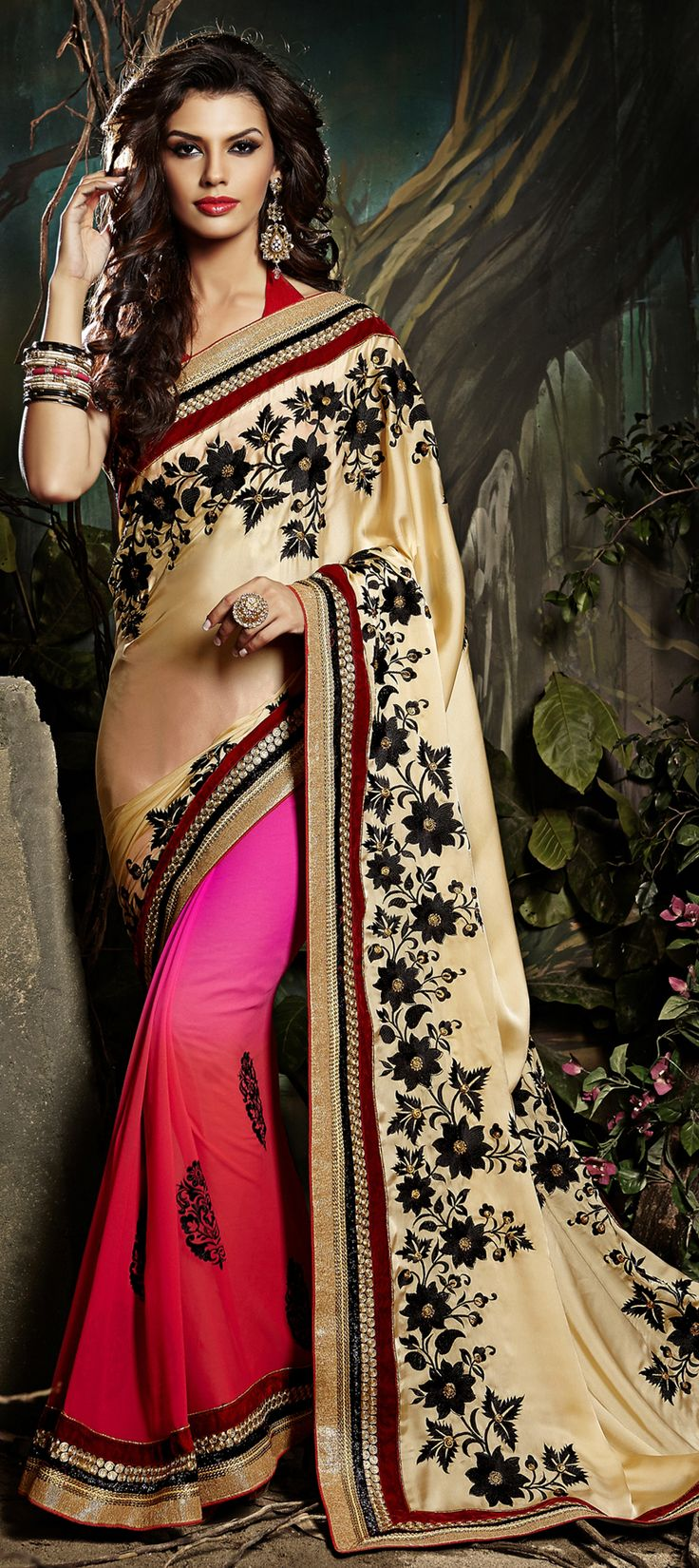 156004: Let the Flowers fall on your #saree in a way as if painted. Order this unique style now!  #Partywear #IndianFashion