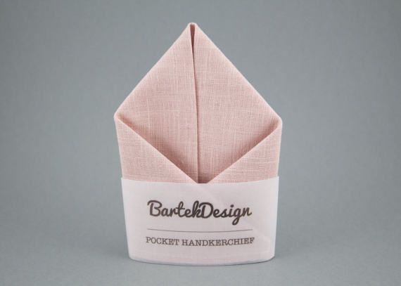 Blush Pocket Square Linen Handkerchief Pink Pocket by BartekDesign