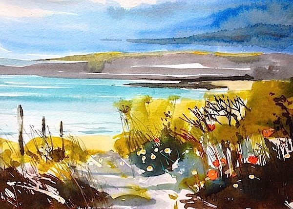 Signed Original Watercolour Landscape Painting  -Coastline - by Annabel Burton