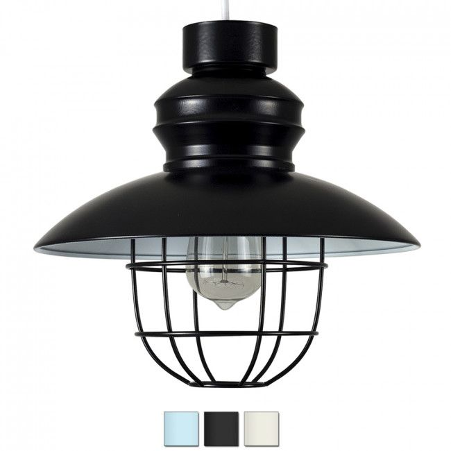Industrial Style 'Penglai' Wire Basket Fishermans Ceiling Pendant Black Shade