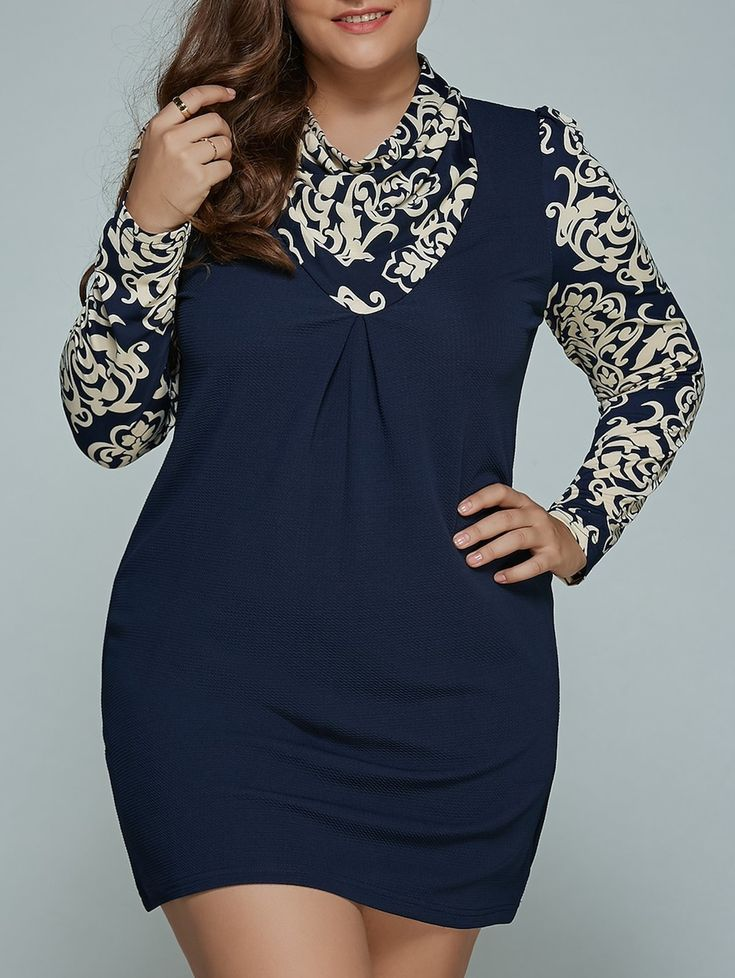 $17.28---Blue and White Porcelain Print Plus Size Mini Dress, PURPLISH BLUE, 3X/18 in Plus Size Dresses | DressLily.com