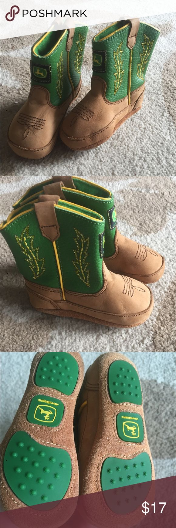 JOHN DEER BABY COWBOY BOOTS SIZE 4 months Adorable leather boots for your little man ! Light brown Leather  with john deer logo and green with yellow stitch design in side . *************** FOR LOCAL  PICK UP (Tampa ,Florida and surrounding areas ), contact PRICING **************** LIGHTLY USED  ||NO STAINS, FADING ,TEARS|| ---------------------- || WE CONSIDER ALL OFFERS|| ||10% BUNDLE DISCOUNT || ||10-20% PRIVATE BUNDLE DISCOUNTS OFFERED ON 2 OR MORE ITEMS || John Deere Shoes Boots