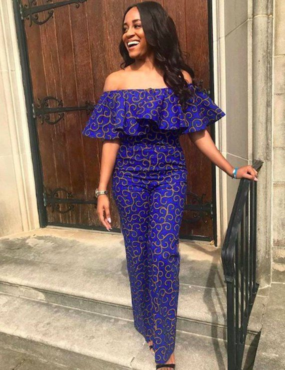 African Print Flare Off shoulder Jumpsuit – Ankara Print – Ankara Dress – Handmade – Africa Clothing – African Fashion – Made to order