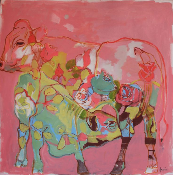 """content"" Pink Pyjama Cow, 100x100cm, oil on canvas, 2016  Angie Arbuthnot"