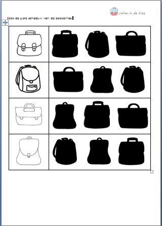 Zoek de juiste schaduw van de boekentas  ( Download op 'Jolien in de klas')