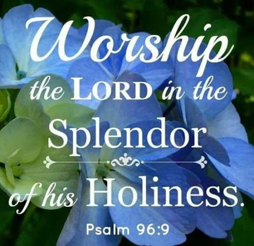 Psalm 96:9 (NIV) - Worship the LORD in the splendor of His holiness;     tremble before Him, all the earth.