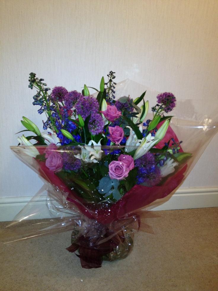 Handtied bouquet, Oriental Lilies, Roses, Allium & Delphiniums
