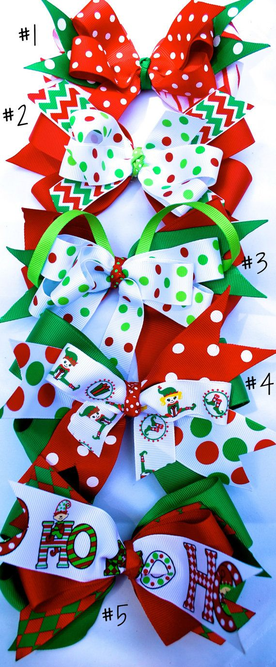 Christmas Hair Bows of different styles by PinkCowMootique, $10.00