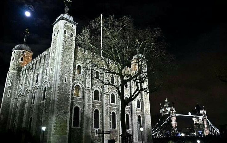 the Tower of London under a full moon - the White Tower and the Tower Bridge