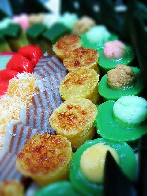 indonesian jajan pasar - these cakes also represent hope and future wishes as its shape, basic material, color in philosophy