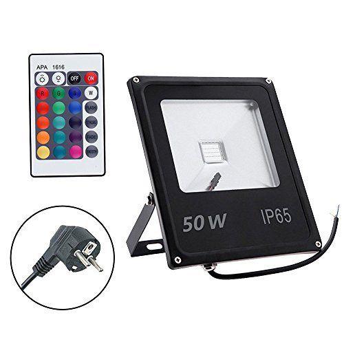 GLW 50W LED projecteur extérieur, télécommande, Colorchange, 16 couleurs 4 avec des modèles variables, fonction de mémoire [efficacité…
