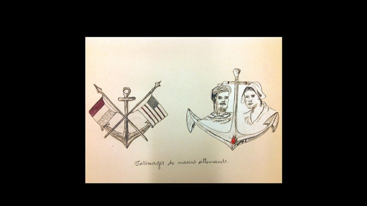 Two lovely anchor tattoos on German sailors from a manuscript at the University of Chicago Special Collections (Vervaeck, circa 1907).