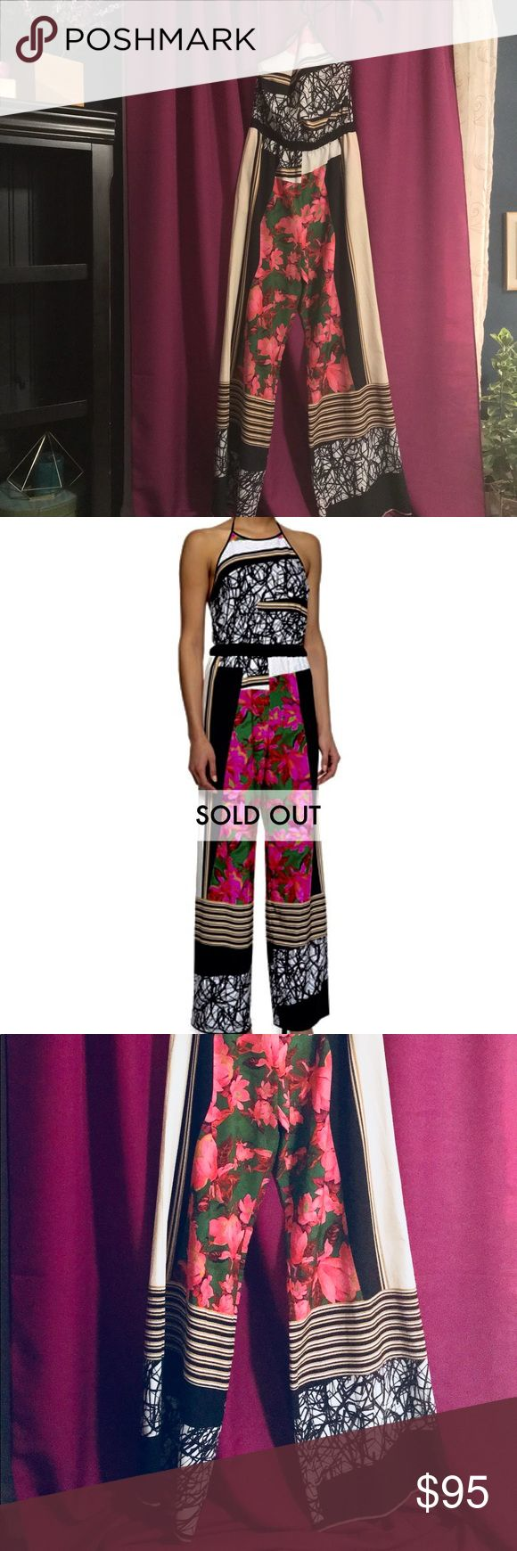 Clover Canyon Mixed Print Halter Jumpsuit Clover Canyon mixed-print jumpsuit Size 2/Small   Wore one time for 1/2 hour.  nieman Marcus carries this brand but has sold out of this item/ it didn't fit my small bustline but is such a gorgeous item!!!!   Halter neckline with back tie. Sleeveless. Elasticized waist. Wide legs. Relaxed silhouette. Polyester/spandex. Clover Canyon Pants Jumpsuits & Rompers
