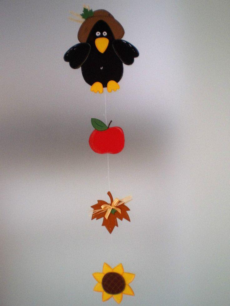 Fensterbild  Rabenkette- Sonnenblume -Herbst- Dekoration - Tonkarton! FOR SALE •…