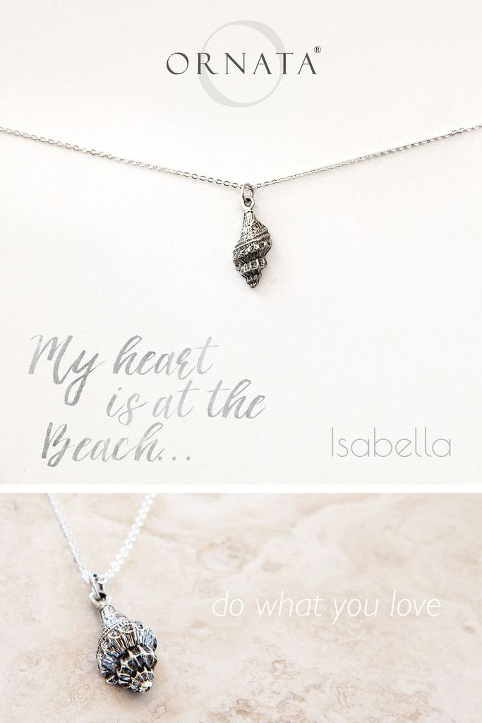 """""""My Heart is at the Beach"""" Personalized Delicate Seashell Necklace"""