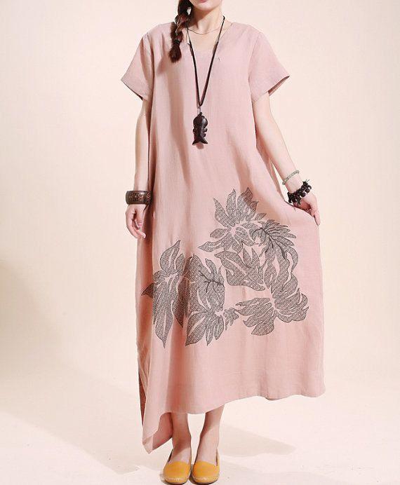 Summer maxi dress Loose linen Short sleeve long dress linen Women robe