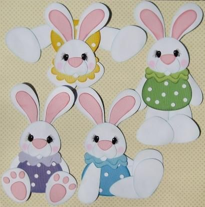 Punch Art: Cute Pudgy Easter Bunnies - bjl